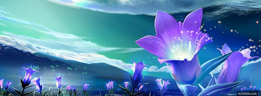 Photo sparkling flowers creartive Facebook Cover for Free