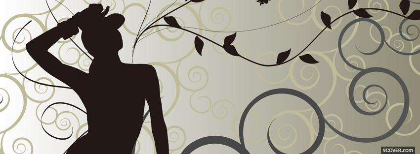 Photo grey black woman creative Facebook Cover for Free