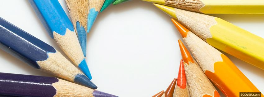 Photo circle of crayons creative Facebook Cover for Free