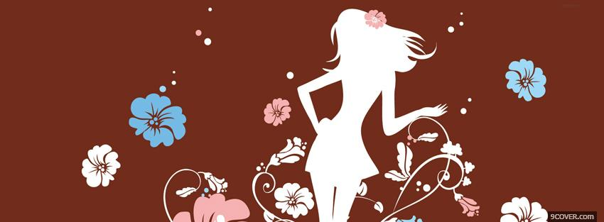 Photo girly girl flowers creative Facebook Cover for Free