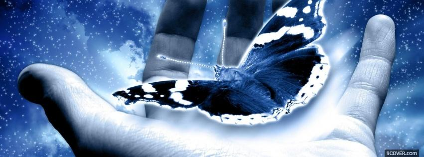 Photo butterfly hand creative Facebook Cover for Free