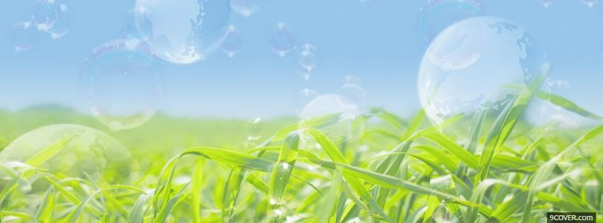 Photo bubbles grass creative Facebook Cover for Free