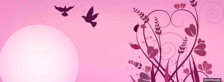 Photo pink sun and birds Facebook Cover for Free