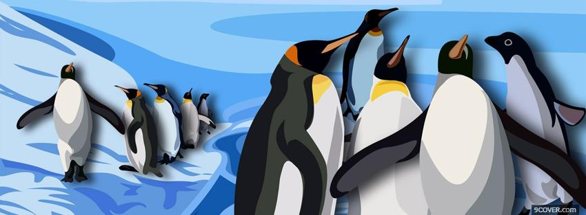 Photo happy penguins creative Facebook Cover for Free