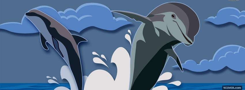 Photo ocean and dolphins creative Facebook Cover for Free