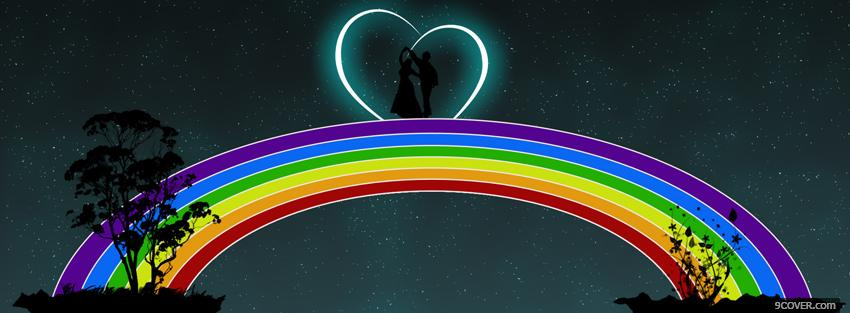 Photo love and rainbow creative Facebook Cover for Free