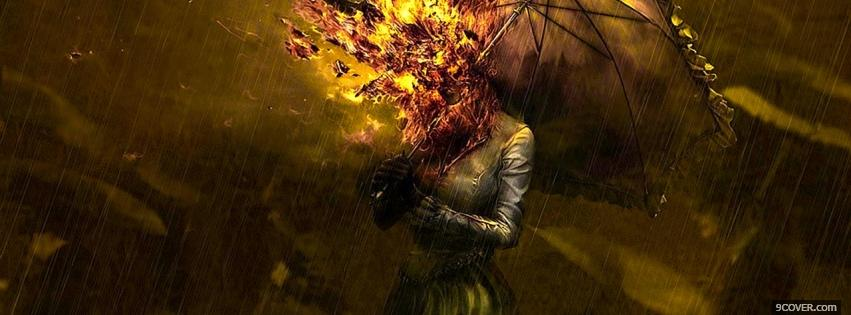 Photo head on fire creative Facebook Cover for Free