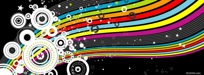 Photo circles and rainbow creative Facebook Cover for Free