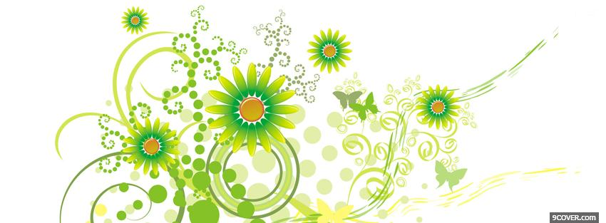 Photo green flowers creative Facebook Cover for Free