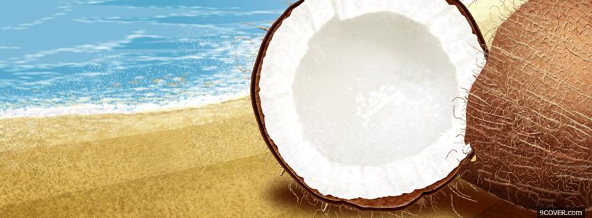 Photo coconut on the beach Facebook Cover for Free