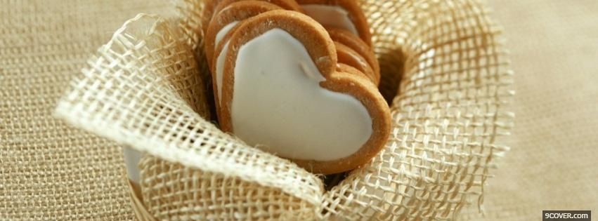 Photo heart shaped cookies food Facebook Cover for Free