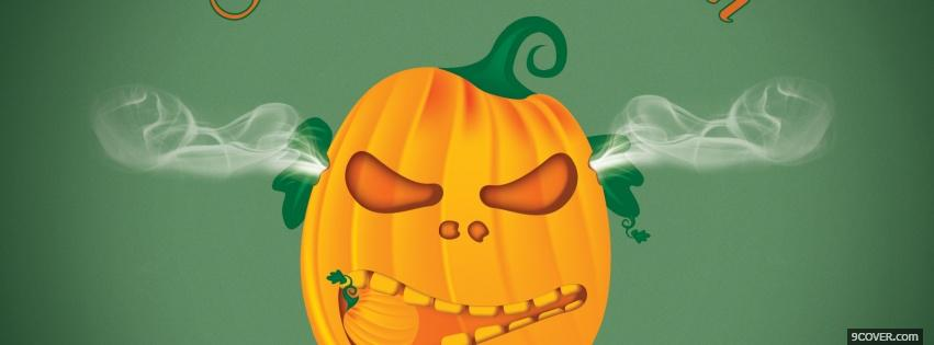 Photo steaming pumpkin halloween Facebook Cover for Free
