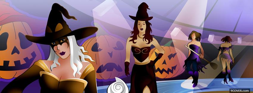 Photo witches party halloween Facebook Cover for Free