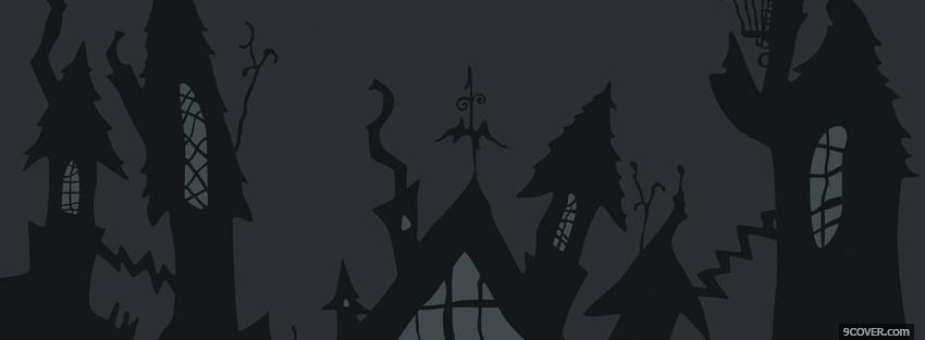 Photo haunted houses halloween Facebook Cover for Free