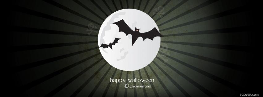 Photo two bats halloween Facebook Cover for Free