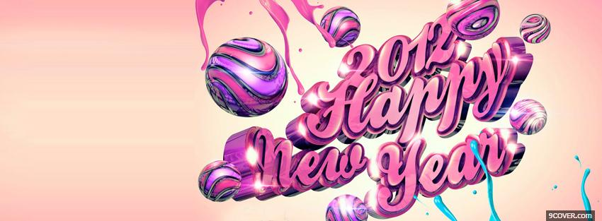 Photo pink new year holiday Facebook Cover for Free