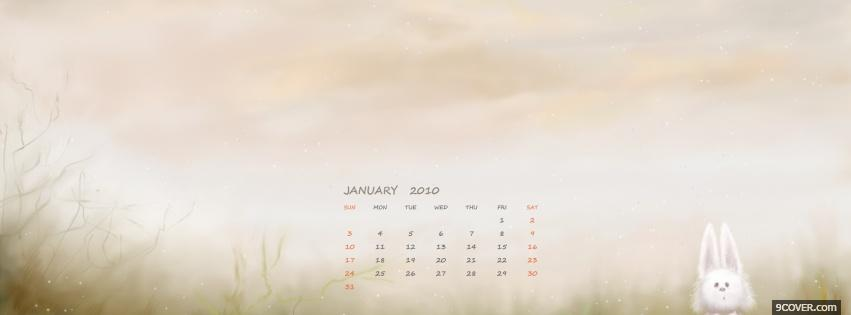 Photo bunny january holiday Facebook Cover for Free