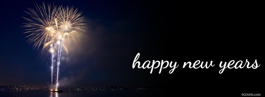 Photo fireworks new year holiday Facebook Cover for Free