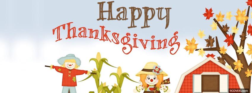Photo farm happy thanksgiving holiday Facebook Cover for Free
