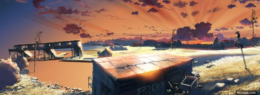 Photo clouds home sky manga Facebook Cover for Free