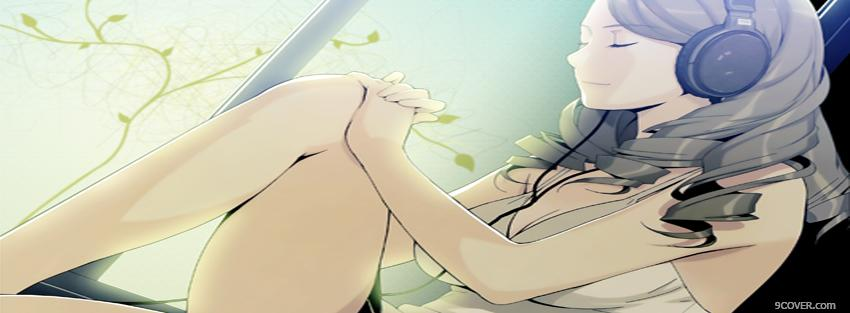 Photo relaxing to music manga Facebook Cover for Free