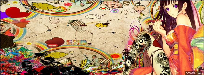 Photo colorful girl manga Facebook Cover for Free