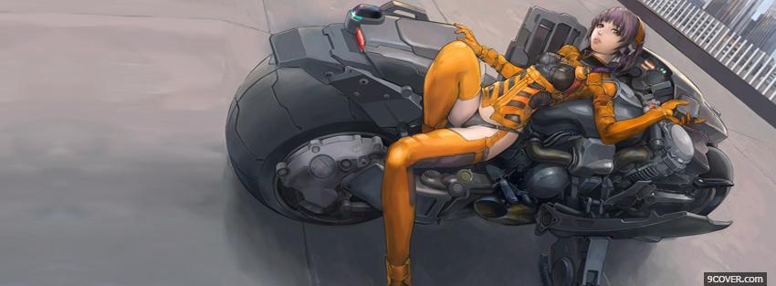 Photo on motorcycle manga Facebook Cover for Free