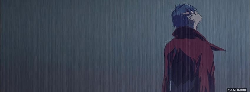 Photo rain night man manga Facebook Cover for Free