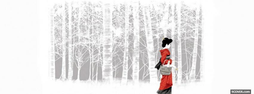 Photo white woods japan manga Facebook Cover for Free