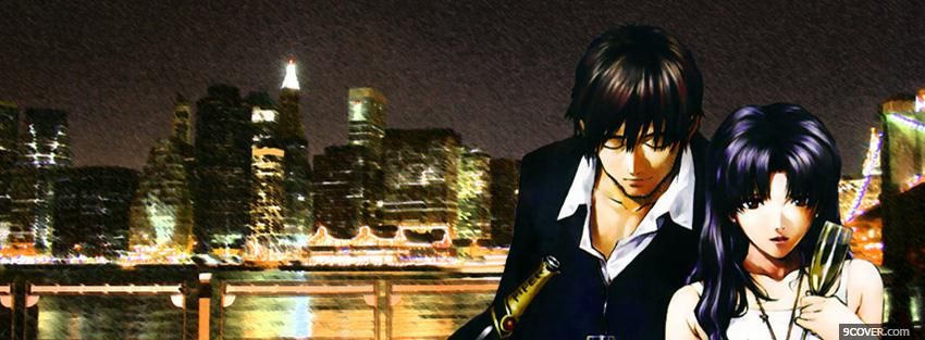 Photo couple city drinking manga Facebook Cover for Free