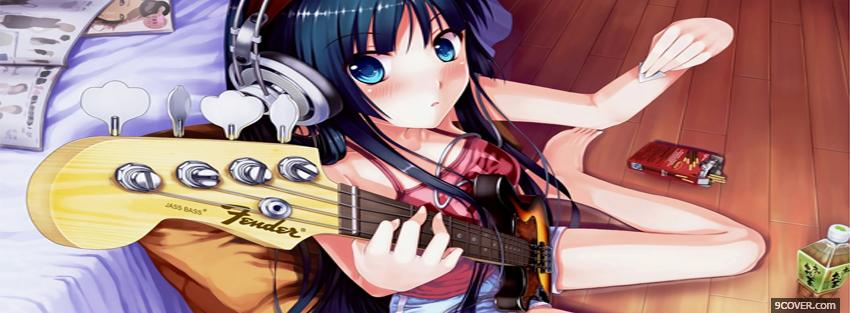 Photo guitar and girl manga Facebook Cover for Free