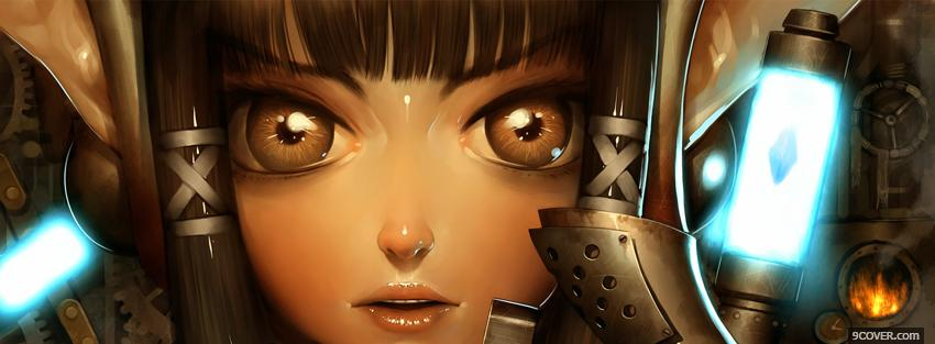 Photo brown eyes girl manga Facebook Cover for Free