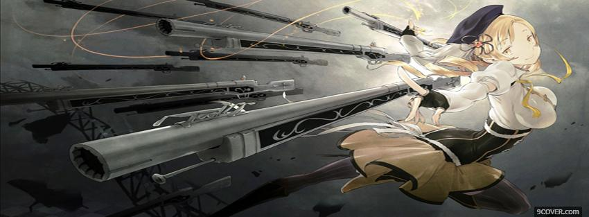 Photo woman and guns manga Facebook Cover for Free