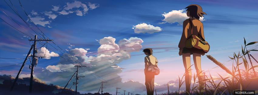Photo standing clouds anime manga Facebook Cover for Free