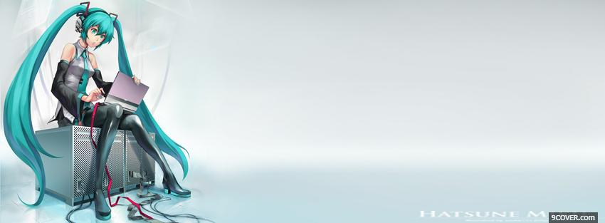 Photo long blue hair manga Facebook Cover for Free