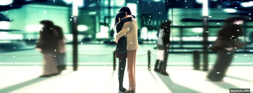 Photo snow couple anime manga Facebook Cover for Free