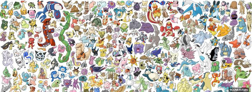 Photo all the pokemons manga Facebook Cover for Free
