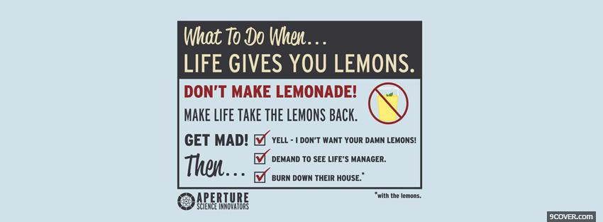 Photo life gives lemons quotes Facebook Cover for Free