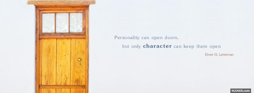 Photo personality open doors quote Facebook Cover for Free