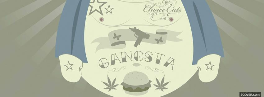 Photo drawed gangsta quotes Facebook Cover for Free