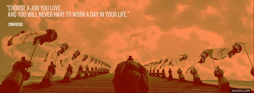 Photo job you love quotes Facebook Cover for Free