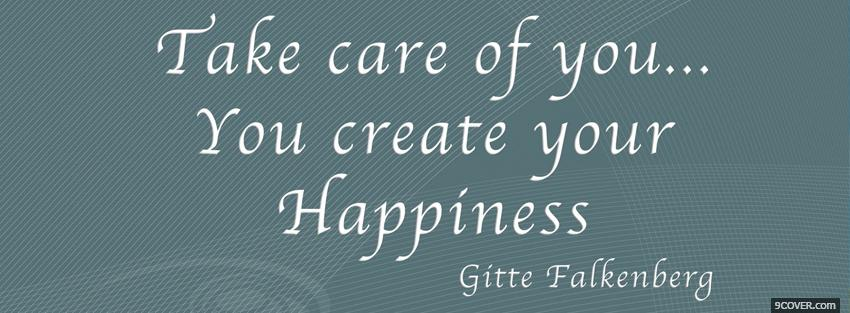 Photo create your happiness quote Facebook Cover for Free