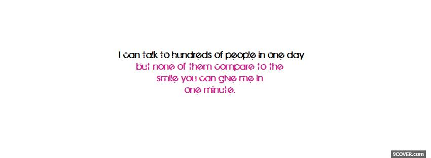 Photo one minute smile quotes Facebook Cover for Free