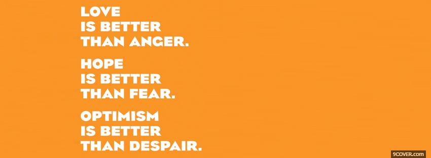 Photo hope better than fear quotes Facebook Cover for Free