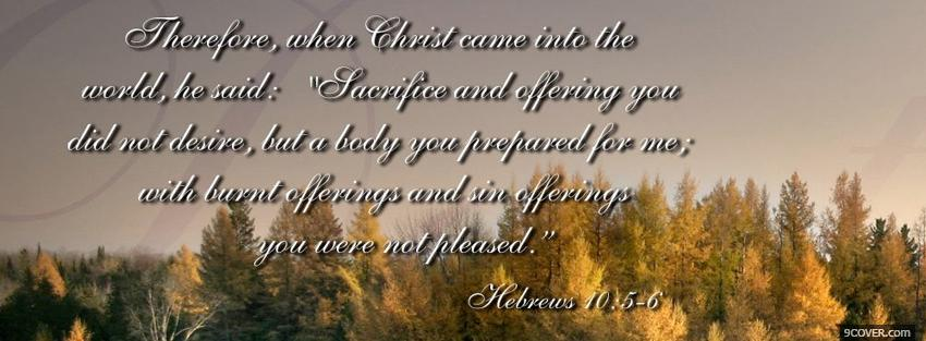 Photo burnt offerings quote religions Facebook Cover for Free