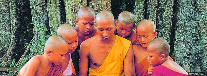 Photo buddhist monks religions Facebook Cover for Free