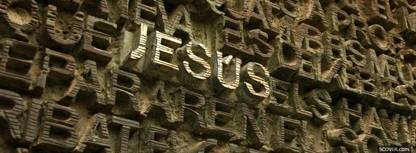 Photo jesus on wall religions Facebook Cover for Free