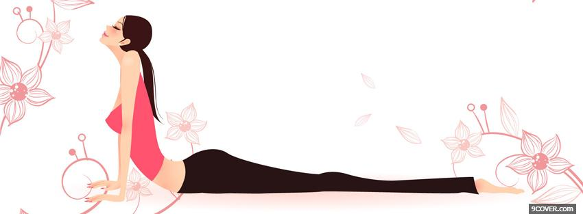 Photo woman doing yoga simple Facebook Cover for Free