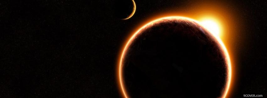Photo moon solar eclipse space Facebook Cover for Free