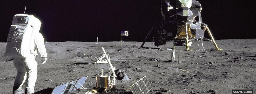 Photo on the moon space Facebook Cover for Free